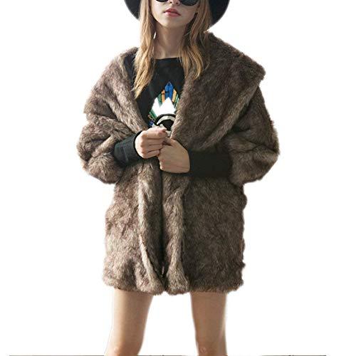 Manteau De Fourrure Femme Manches Longues Revers paisseur Warm Veste en Fourrure Young Styles Vintage Elgante Mode Dcontract Large De Haute Qualit Art Fourrure Jacken Outerwear Braun