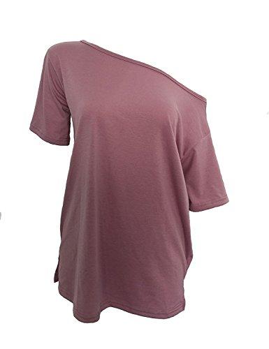 Blusas Sin Hombros Mujer Moda Camiseta Verano Casual Suelto Manga Corta T Shirt Pullover Tunica Tops Lisos �?Landove Rojo