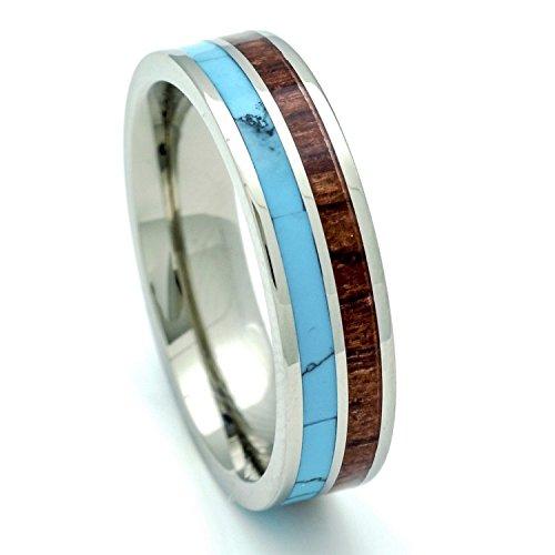 titanium hawaiian koa wood and turquoise inlay wedding band ring 6mm 75 - Hawaiian Wedding Ring