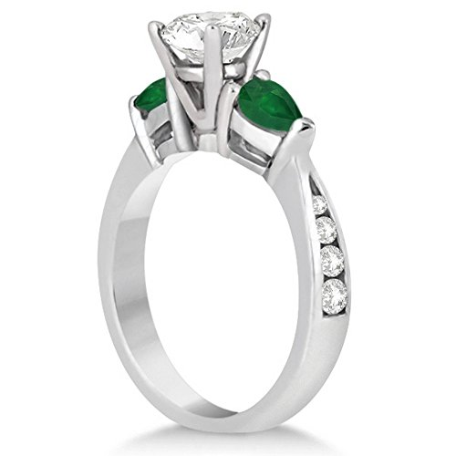 Green-Emerald-Pear-Cut-and-Pave-Set-Round-Diamond-3-Stone-Engagement-Ring-Platinum-Setting-061ct