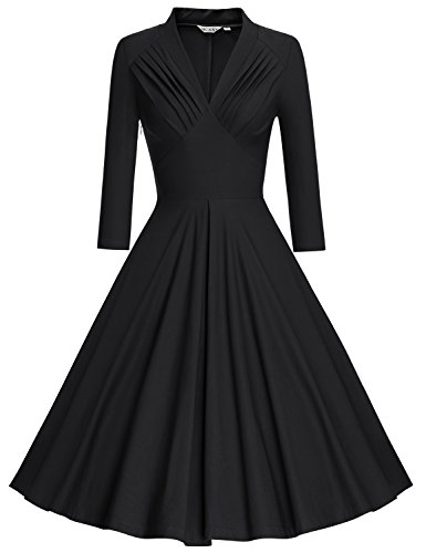 MUXXN Women's Vintage 3/4 Sleeve Bridesmaid Party Dress (L, Black)