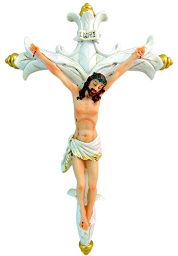 Wall Crucifix Ornate Catholic Cross with Golden Trim, 12 Inch ()