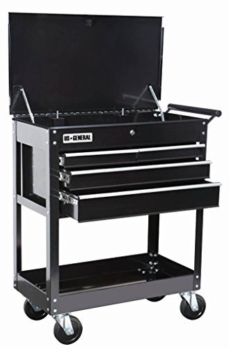 Roller Cart Tool Cabinet Storage Chest Box Glossy Black 4 Drawer 580 Lb. Capacity by US General (4 Drawer Chest Cabinet)