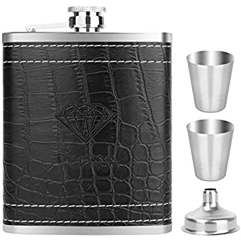 MONODY Hip Flask with Black PU Leather 7 ounce Stainless Steel Heavy Duty Flask Set for Men - Includes Funnel and 2 Little cups for Discrete Shot ...