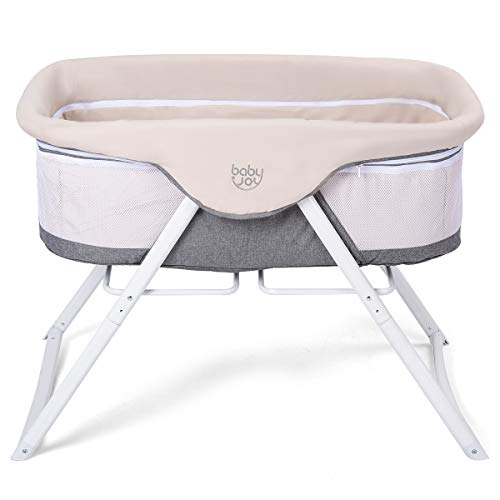 Best Prices! BABY JOY Rocking Bassinet, 2 in 1 Lightweight Travel Cradle w/Detachable & Washable Mat...