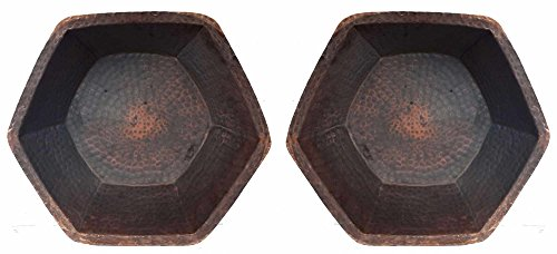 Egypt gift shops Pair Hexagonal Rustic Tempered Matte Copper Basins Foot Leg Calf Knee Massage Bath Pedicure Spa Beauty Salon Bowls Fungus Infections Corns Bunions Medical Care by Egypt Gift Shops