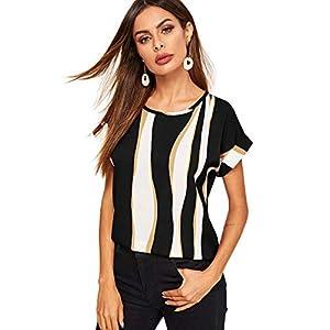 Floerns Women's Color Block Short Sleeve Round Neck Blouse Top