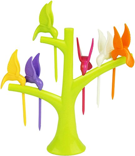 Beautiful Birds Tree Fruit Pick, (6 Pcs),Snack Fork Plastic Tree Trunk Holder