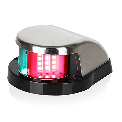 (LEANINGTECH Boat Marine LED Navigation Lights Marine Navigation Lamp, Red and Green LED for Boat Pontoon Yacht Skeeter (Green+Red-Updated Version))