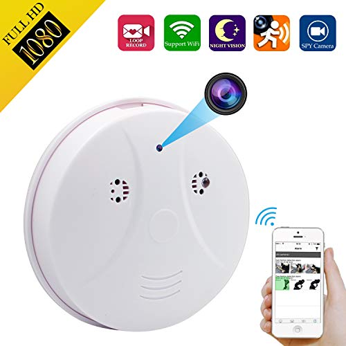 Spy Hidden Camera, ZDMYING Smoke Detector Upgraded HD 1080 Cam, with Night Vision Motion Detection Loop Recording, for Indoor Home Security Monitoring Nanny Cameras