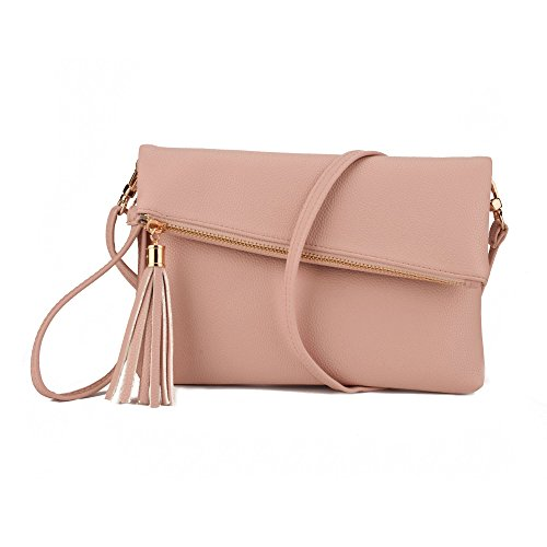 Jiaruo Girls Tassel Fold Cover Sling Leather Crossbody Bag Handbag Purse (pink) -