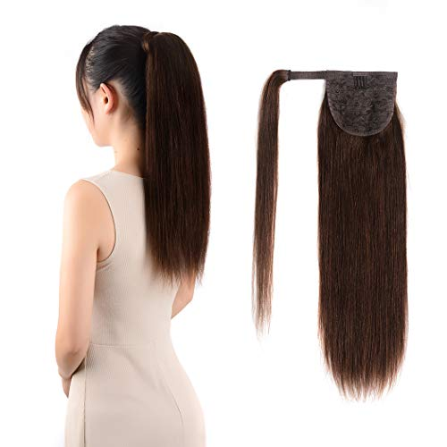 Ponytail Extensions Real Human Hair Clip in 14 inches 60g Dark Brown Color Straight Drawstring Warp Around Ponytail Hair Piece Remy Human Hair for Women (14