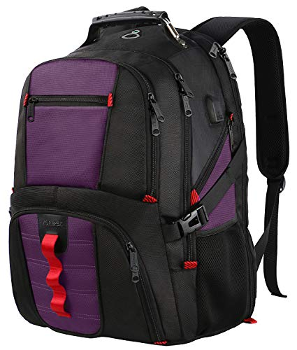 YOREPEK Extra Large Backpack,TSA Friendly Travel Laptop Backpack for Men Women with USB Charging Port,Water Resistant Big Business College School Computer Bookbag Fits 17Inch Notebooks,Purple
