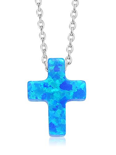 Gem Stone King Unisex 925 Sterling Silver 8MM Created Blue Opal Cross Pendant On 18inches Chain