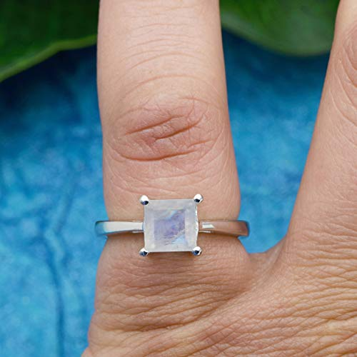 GEMSME 18K White Gold Filled 925 Sterling Silver 7.00mm Moonstone Victorian Style Solitaire Ring for Women