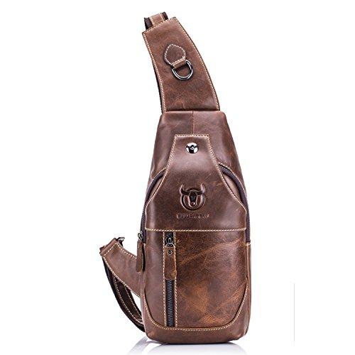 Bull Captain Sling Backpack Genuine Leather Chest Shoulder Bags Casual Crossbody Bag Travel Hiking Daypacks 019 (Brown)