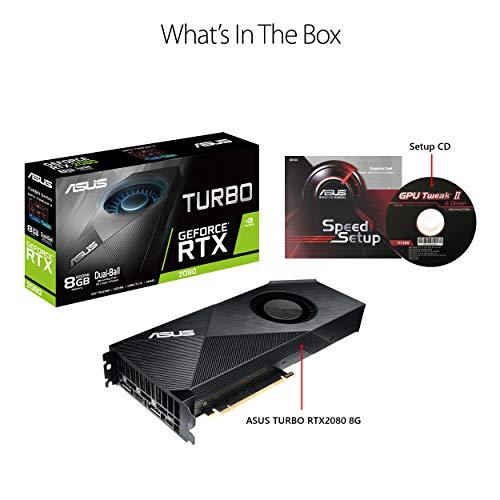 ASUS GeForce RTX 2080 8G Turbo Edition GDDR6 HDMI DP 1.4 USB Type-C Graphics Card (TURBO-RTX2080-8G)