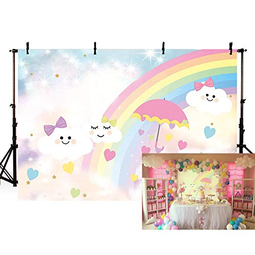 MEHOFOTO Photo Background Cute Cartoon Rainbow White Cloud Sky Umbrella Birthday Party Decoration Banner Backdrops for Photography 7x5ft ()