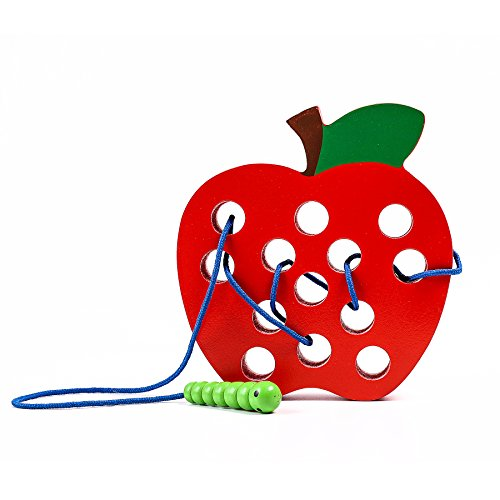 kizh Lacing Toy Big Apple Threading Fruits Montessori Activity Learning Early Development Educational Toys for Baby Toddler and Kids