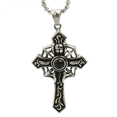 Aooaz Men's Stainless Steel Pendant Retro Punk Cross Spider Web Black Pendant Retro Vintage Punk - Wholesale Shades Lamp