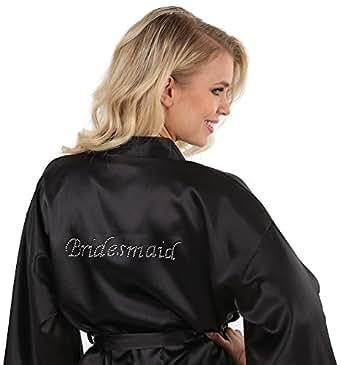 VEAMI Women's Short Kimono Robe-Black Pearl-Small, Bridesmaid Edition