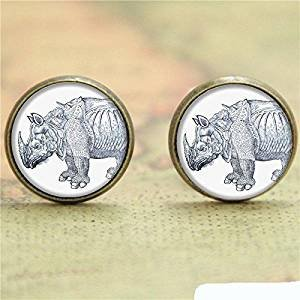 Vintage Strong Rhino Glass Fashion Jewelry Earrings Accessories-Rhinoceros Ear Rings- Cowboy Post Earrings-Bronze Handmade Post Glass Jewellery--Earrings Jewelry For Women (Rhino Earrings)
