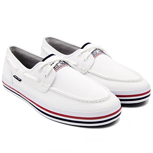 (Nautica Men's Spinnaker Lace-Up Boat Shoe, Casual Loafer, Fashion Sneaker-White Heritage-9.5 )