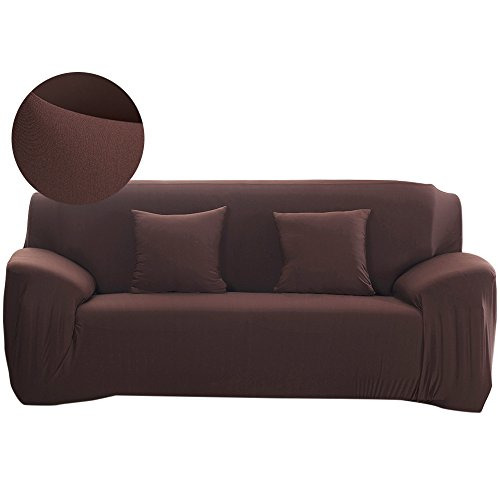 Scorpiuse Stretch Sofa Cover 1-Piece Polyester Spandex Fabric 3 Cushion Couch Slipcover Chocolate - 3 Cushion