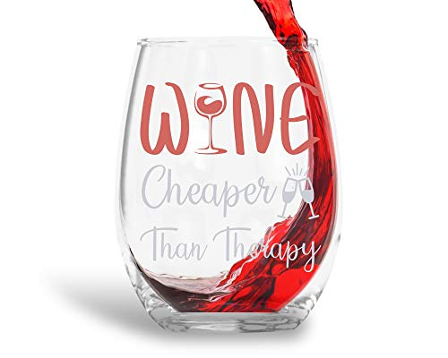 Wine Cheaper Than Therapy 15oz Crystal Stemless Wine Glass - Fun Wine Glasses with Sayings Gifts For Women, Her, Mom on Mother's Day Or ()
