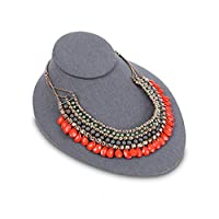 Mooca Linen Lay Down Necklace Bust Display Jewelry Display Necklace Chain Jewelry Bust Display Holder Stand,