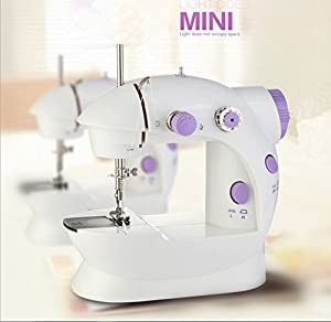 Mini Portable Sewing Machine Double Speed Control Double Thread Needle Electric Household Automatic Sewing Machine with Foot Pedal … from hongchan