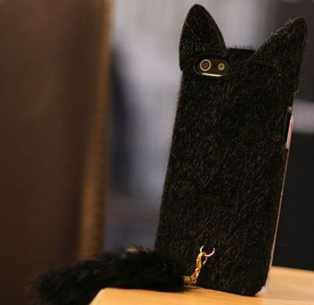 iPhone5 ケース カバー 猫耳 しっぽ付 黒 ブラック