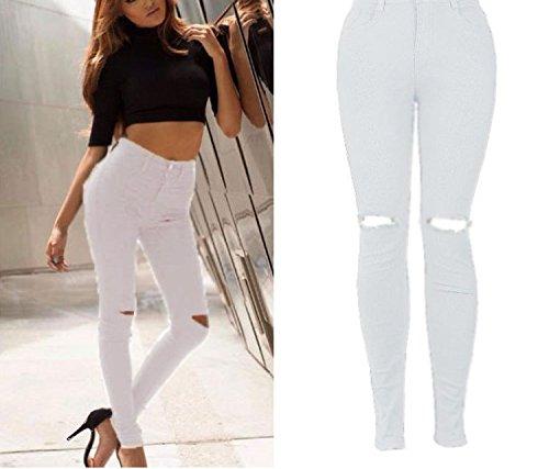 Jeans Jeans d't Oudan Jean Zipper Hipster pour Trous Pantalons Taille avec Blanc Femmes Haute Jeans Skinny Skinny qwxCdCX