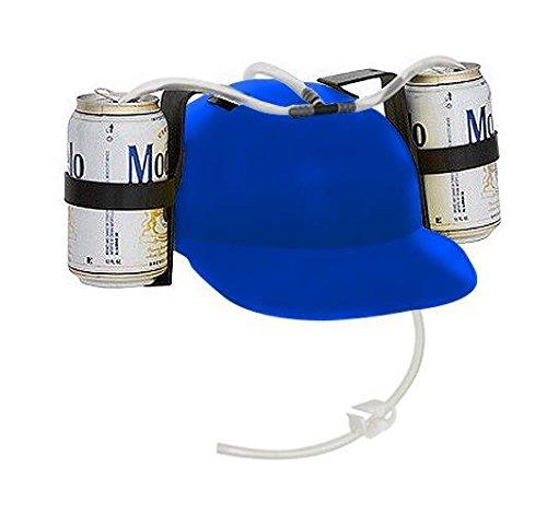 Beer & Soda Guzzler Helmets Set of 2 - Drinking Hats By EZ Drinker (Blue)