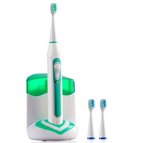 Xtech XHST-100 Oral Hygiene Ultra High Powered 40,000VPM, 5 Brushing Modes, Rechargeable Electric Ultrasonic Toothbrush with Charging Dock & Built-in UV Sanitizer, Includes 3 Brush Heads by Xtech