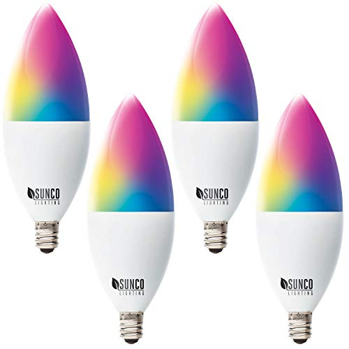 Sunco Lighting 4 Pack WiFi LED Smart Bulb, B11 Candelabra, 4.5W, E12 Base, Color Changing (RGB & CCT), Dimmable, Compatible with Amazon Alexa & Google Assistant – No Hub Required