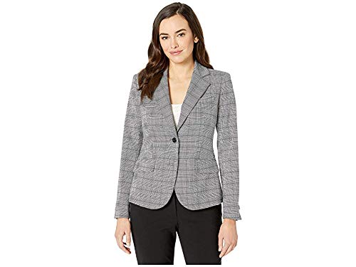 Anne Klein Women's Two-Button Plaid Jacket Anne Black/Rainshadow Combo 8