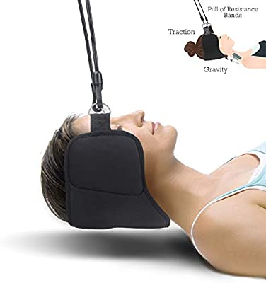 Portable Neck Head Hammock Cervical Traction Device for Neck Shoulder and Back Pain Portable Physical Therapy Relief for Headaches Migraine and Stress with Bonus Eye Mask and Earplug by JIA LE