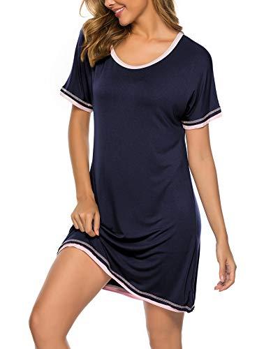 Twinklady Sleepwear Women Nightgown Cotton Sleepshirts Scoop Neck Nightdress Short SleeScoope Nightshirts NB S Navy Blue