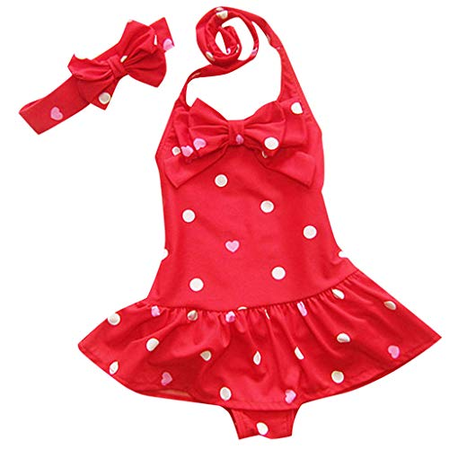 Lanhui Toddler Baby Girls Sleeveless Circle Dot Bowknot Headband Beach Newborn Swimwear (3-4 Years, Red)