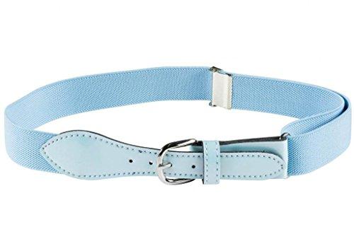 Kids Elastic Adjustable Belt with Leather Closure - Light Blue -