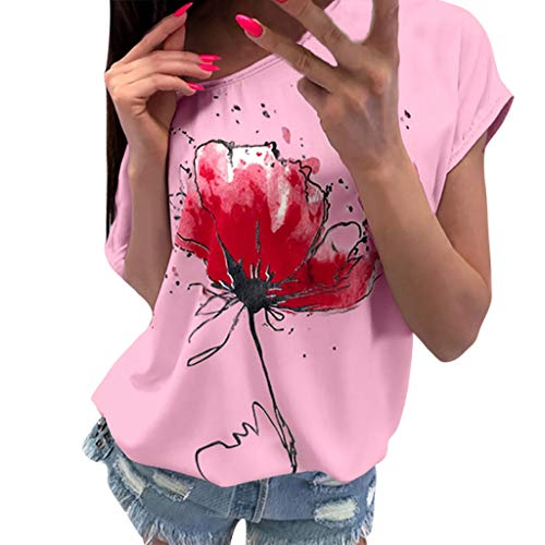Cewtolkar Womens Floral Printed Tops Summer Fashion Casual Short Sleeve Round-Neck T-Shirt Loose Party T-Shirt for Women Pink