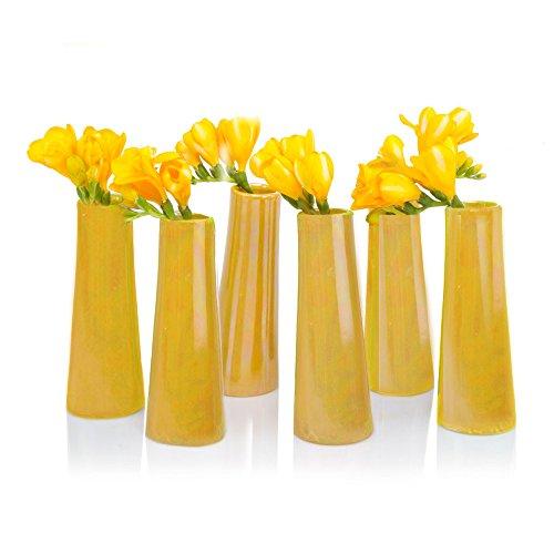 Chive - Galaxy, Small Cylinder Ceramic Bud Flower Vase, Unique Single Flower Decorative Floral Vase Home Decor, Bulk Set of 6 (Yellow)
