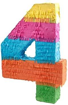 Alsino Piñata Multicolor | Forma de número 4 | para la Fiesta de Cumpleaños | Entretenimiento Niños, Piñata número 4