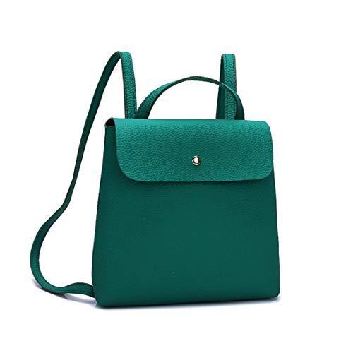 Fashion Simple Women Ladies Girl Pure Color Leather Mini School Bag Backpack Shoulder Bag Handbag Green