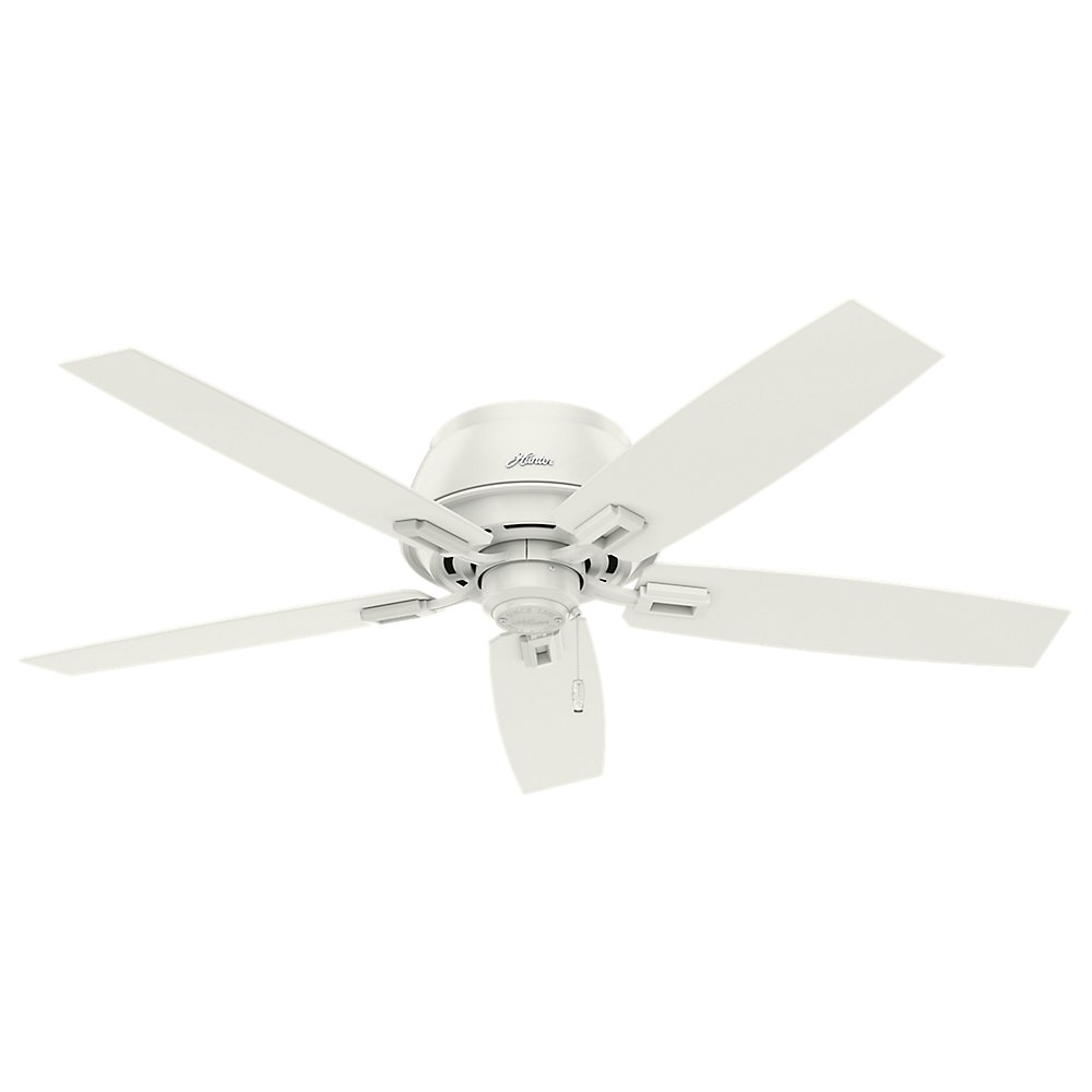 Hunter Indoor Low Profile Ceiling Fan with LED Light and pull chain control – Donegan 52 inch, White, 53343