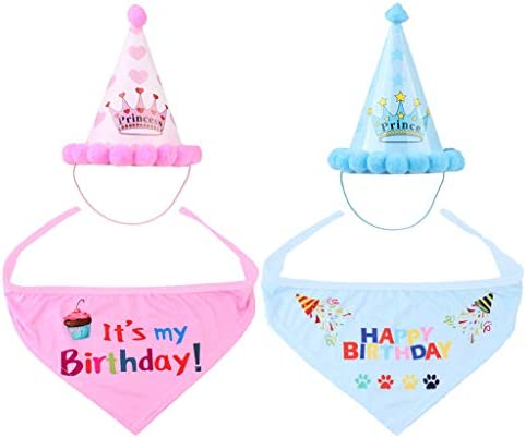 PETSOLA 2 세트 애완 동물 개와 고양이 모자 머플러 스카프 생일 생일 축 하 블루 및 핑크 / PETSOLA 2 Sets Pet Dog Cat Hat Muffler Scarf Birthday Happy Birthday Blue & Pink