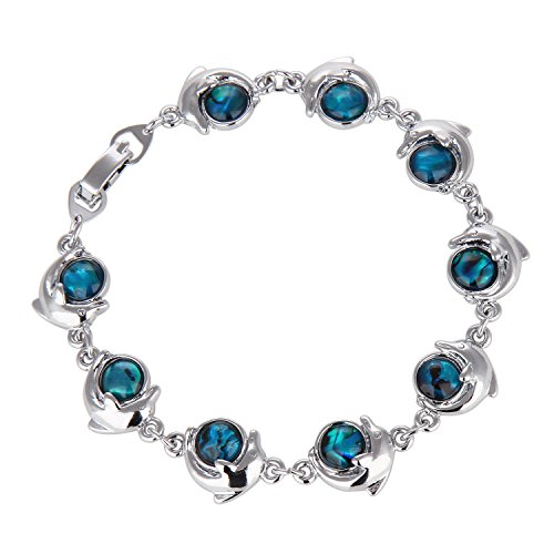 Blue Abalone Paua Dolphin Pendant Mood Necklace for Christmas Gift Jewelry (Bracelet 5#)
