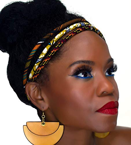 African Headband | Metallic Kente 3 Strand Headband | African Print Headband | Natural Hair | Cloth & Cord