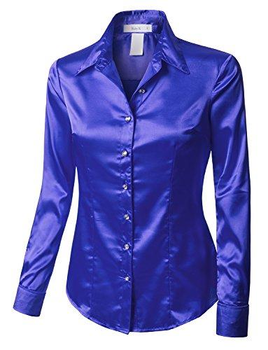 Rk Ruby Karat Womens Satin Silk Work Button Down Blouse